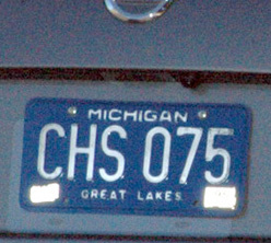 PhotoBlocker spray applied to Michigan license plate