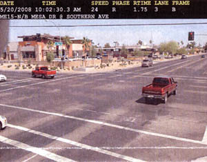 'B' violation photo taken by red light camera