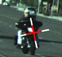 Motorcycle targeted by Laser Technology Inc. TruCam laser gun
