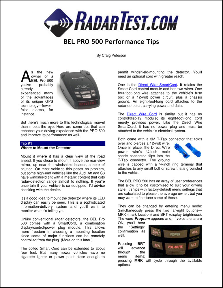 BEL Pro 300 Performance Tips guide