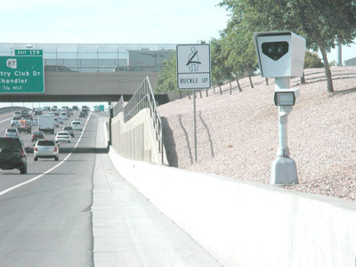 Redflex photo enforcement speed camera along Phoenix freeway