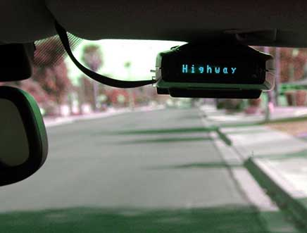 escort radar detector on visor mount
